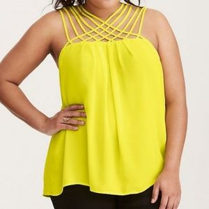 Torrid Yellow Criss Cross Tank